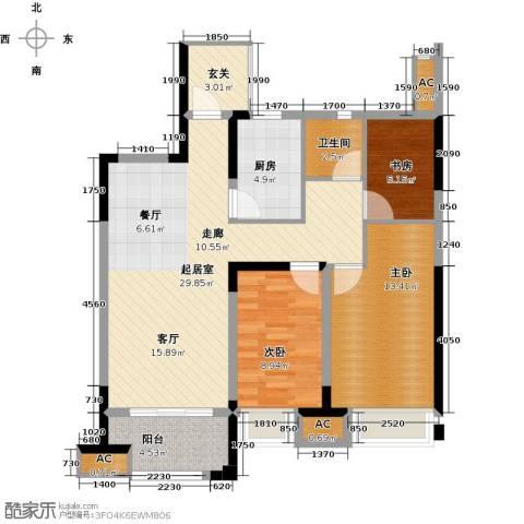 金科天籁城3室0厅1卫1厨93.00㎡户型图