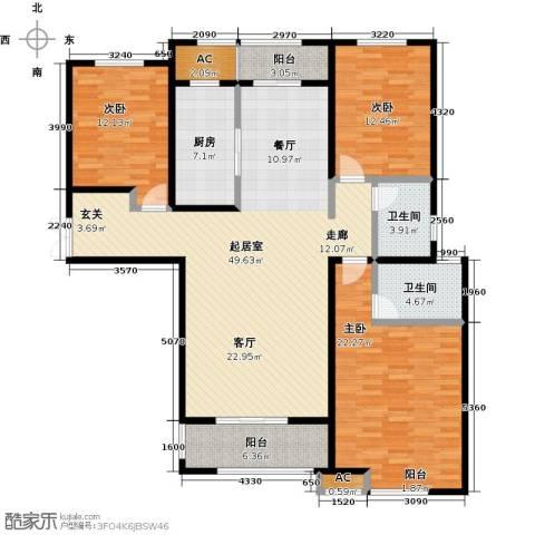 东方今典3室0厅2卫1厨140.00㎡户型图