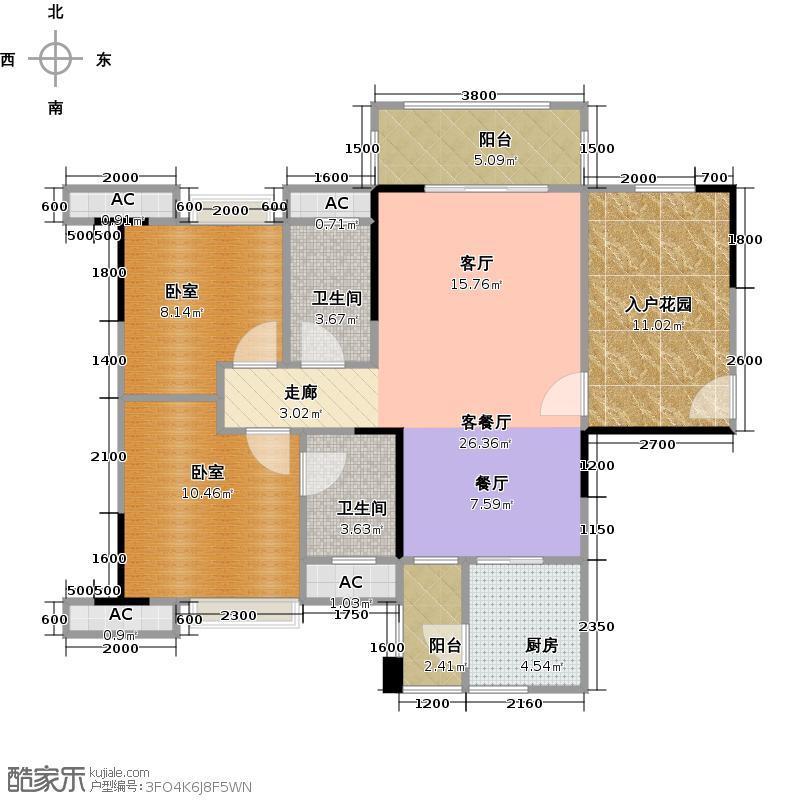 远洋启宸96.00㎡5幢01户型 96平米 二房二厅二卫户型2室2厅2卫