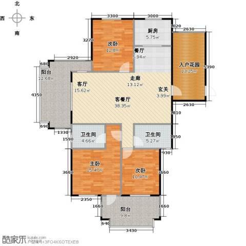 绿地华庭3室1厅2卫1厨172.00㎡户型图