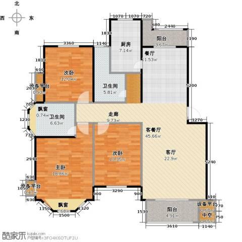 绿地华庭3室1厅2卫1厨163.00㎡户型图