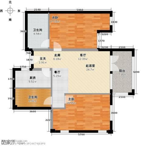 戴河庭院2室0厅2卫1厨121.00㎡户型图