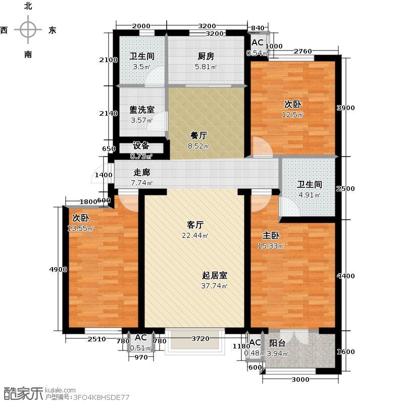 水榭花城142.25㎡24号楼 三室两厅两卫户型3室2厅2卫