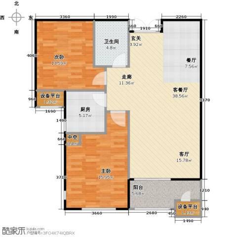 华中国宅华园2室1厅1卫1厨95.00㎡户型图