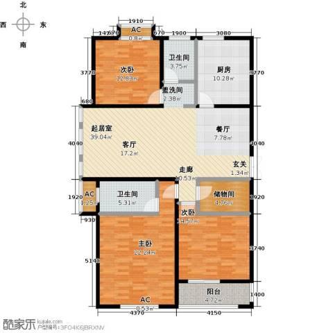东方今典3室0厅2卫1厨134.00㎡户型图