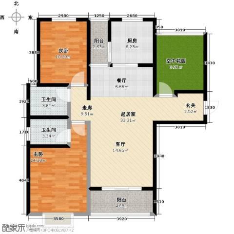 曲江・国风世家2室0厅2卫1厨113.00㎡户型图