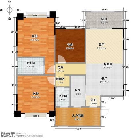 长兴99号公馆3室0厅2卫1厨105.00㎡户型图