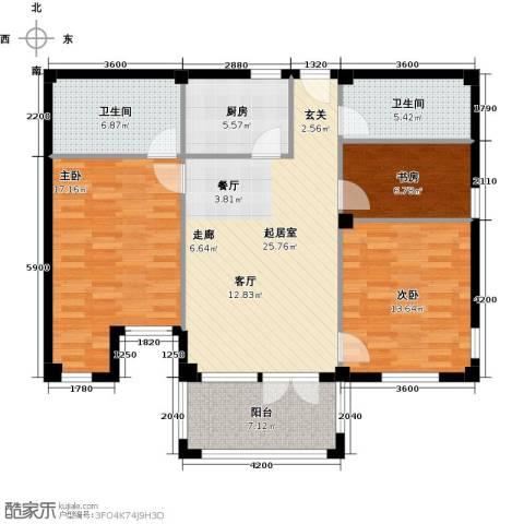 戴河庭院3室0厅2卫1厨123.00㎡户型图
