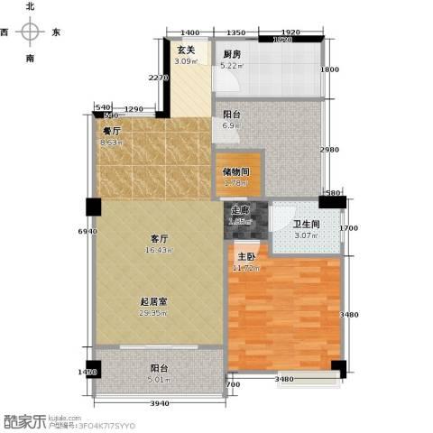 润恒国华瑞景1室0厅1卫1厨78.00㎡户型图