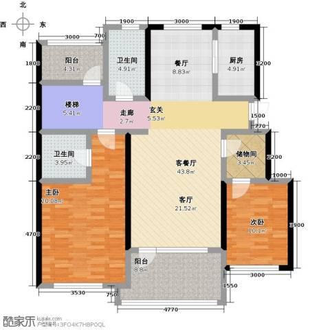 恒景・溪山壹�2室1厅2卫1厨151.00㎡户型图