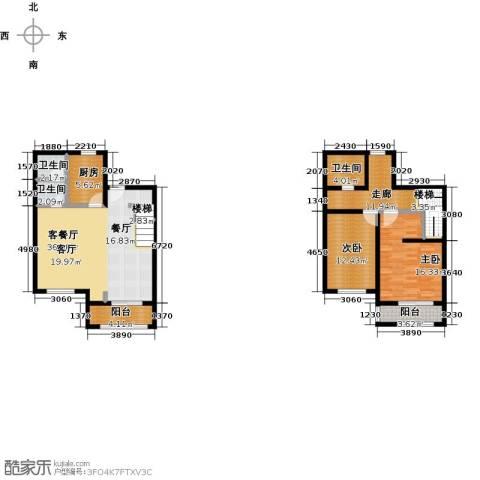 绿地大溪地2室1厅3卫1厨116.00㎡户型图