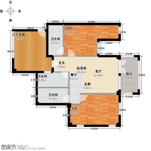 戴河庭院2室0厅3卫0厨142.00㎡户型图