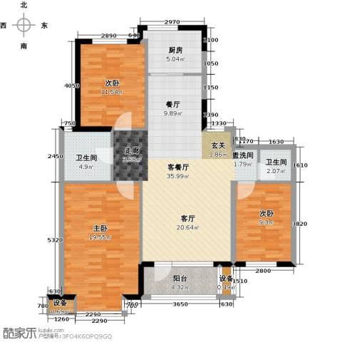 丽湖名居3室1厅2卫1厨132.00㎡户型图