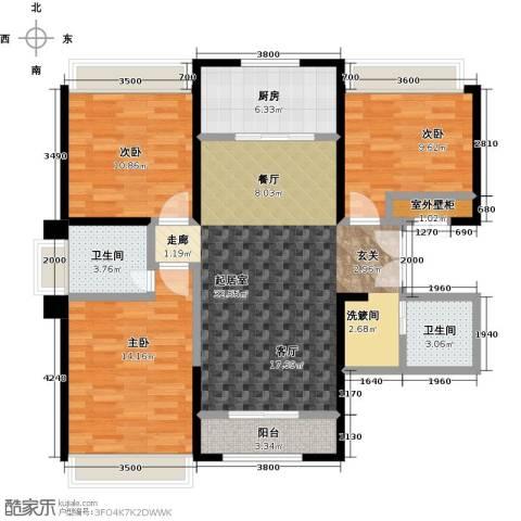 盛达国际新城3室0厅2卫1厨121.00㎡户型图