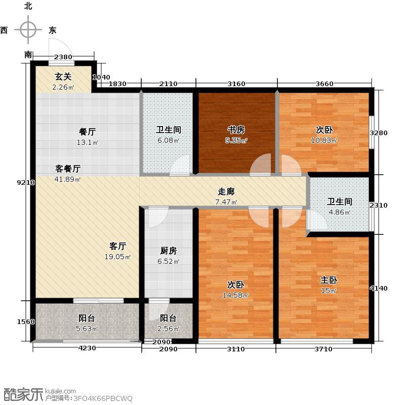 阳光100国际新城130.34㎡D户型3室2厅2卫