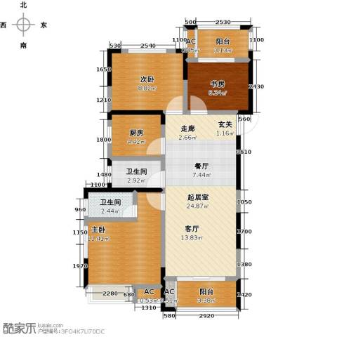 御景城3室0厅2卫1厨116.00㎡户型图