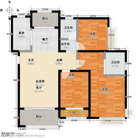 台�国际广场3室0厅2卫1厨133.00㎡户型图