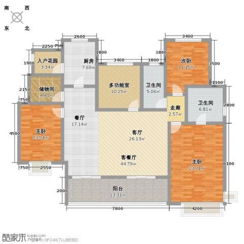 富力十号3室1厅2卫1厨168.00㎡户型图