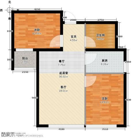 瑞华新都汇2室0厅1卫1厨101.00㎡户型图