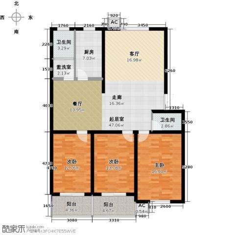 鑫河湾3室0厅2卫1厨139.00㎡户型图
