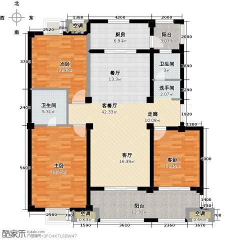 邦泰中央御城3室1厅2卫1厨140.00㎡户型图
