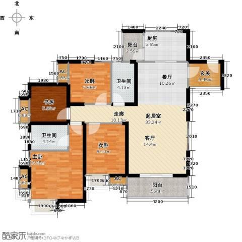 翰城国际4室0厅2卫1厨124.00㎡户型图
