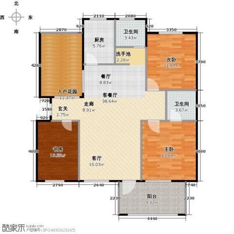 绿地华庭3室1厅2卫1厨145.00㎡户型图