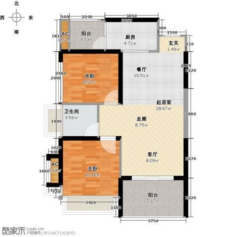 金沙世纪城2室0厅1卫1厨77.00㎡户型图