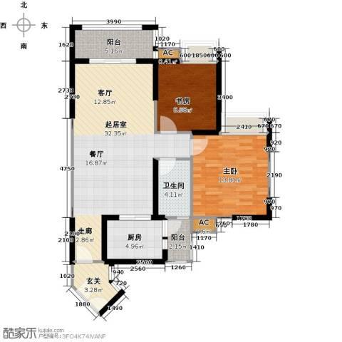 翰城国际2室0厅1卫1厨88.00㎡户型图