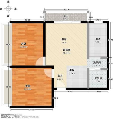 佳诚长安集2室0厅1卫1厨77.00㎡户型图