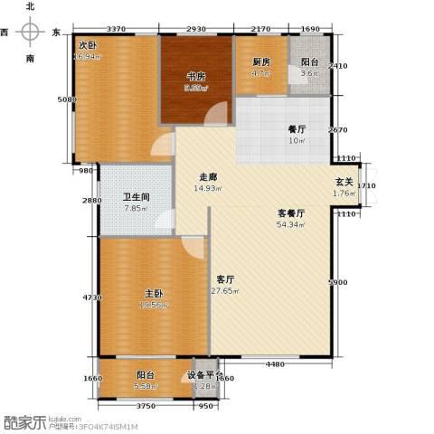 华中国宅华园3室1厅1卫1厨132.00㎡户型图