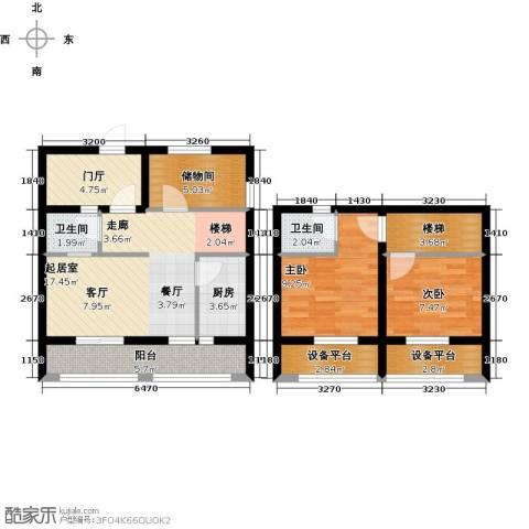 太奥广场2室0厅2卫1厨80.00㎡户型图