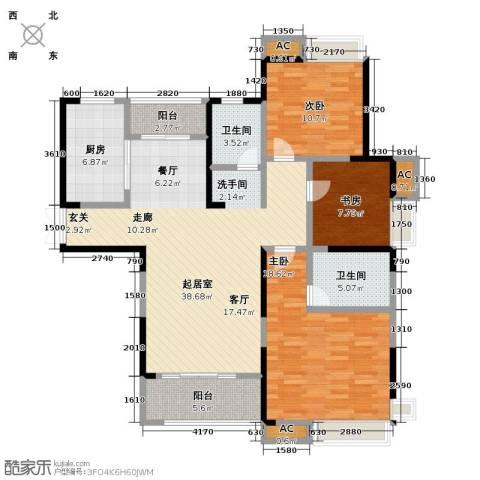 绿地滨湖国际花都3室0厅2卫1厨116.00㎡户型图