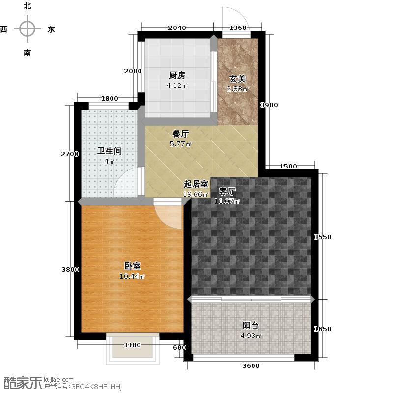 山花泰和府72.00㎡阔绰一居户型1室2厅1卫