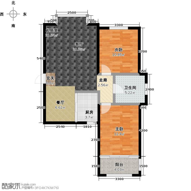 山花泰和府91.00㎡典雅两居户型2室2厅1卫