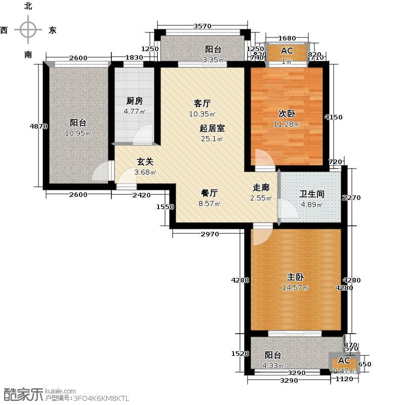康桥美庭QQ户型2室1卫1厨