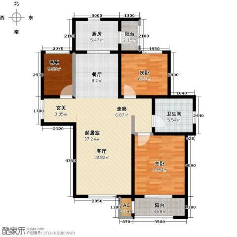 松江城玫瑰郡3室0厅1卫1厨117.00㎡户型图