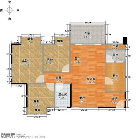 大自然广场3室0厅1卫1厨85.00㎡户型图