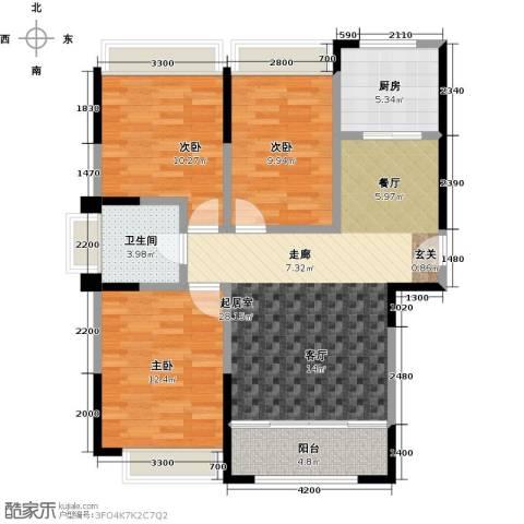 盛达国际新城3室0厅1卫1厨106.00㎡户型图