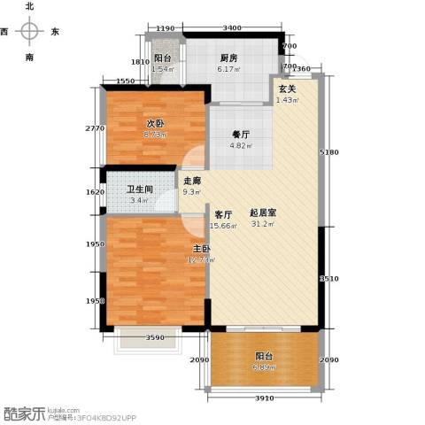 新地东方明珠2室0厅1卫1厨89.00㎡户型图