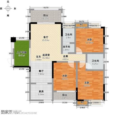 善德山庄3室0厅2卫1厨119.00㎡户型图