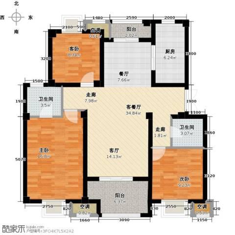邦泰中央御城3室1厅2卫1厨116.00㎡户型图