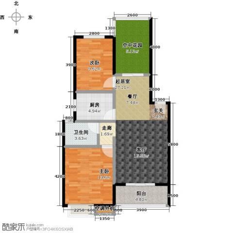 鸣宇锦程2室0厅1卫1厨104.00㎡户型图