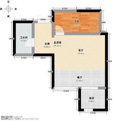 汉庭香榭1室0厅1卫1厨60.00㎡户型图