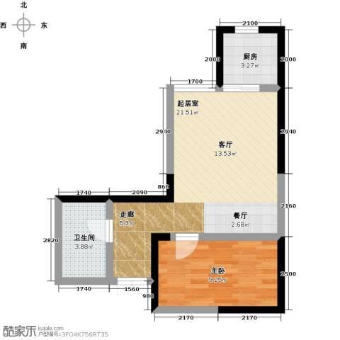 汉庭香榭1室0厅1卫1厨56.00㎡户型图