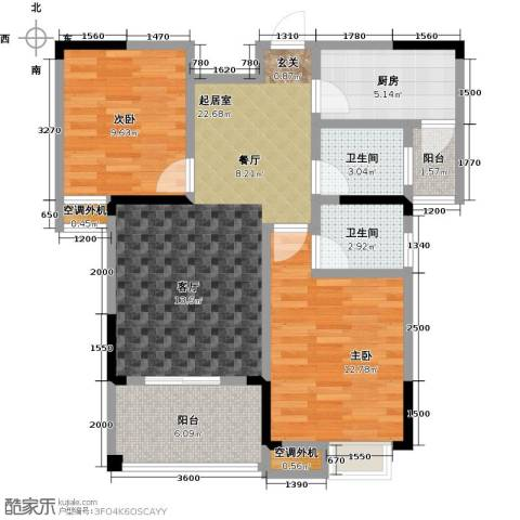 鸣宇锦程2室0厅2卫1厨94.00㎡户型图