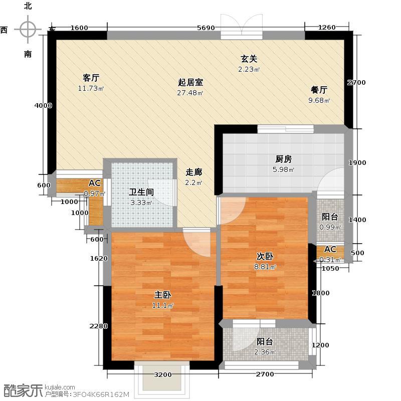 卧龙墨水湖边C3户型2室2厅1卫QQ