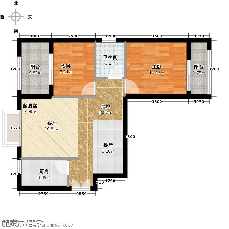 汉城壹号83.00㎡5j户型2室2厅1卫