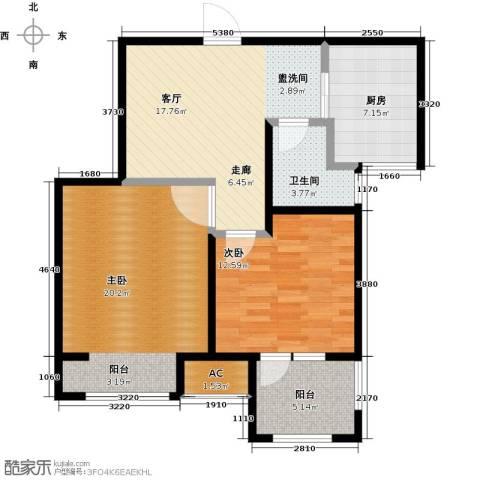 荣盛楠湖郦舍2室1厅1卫1厨97.00㎡户型图