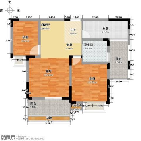 江报翰林世家2室1厅1卫1厨90.00㎡户型图
